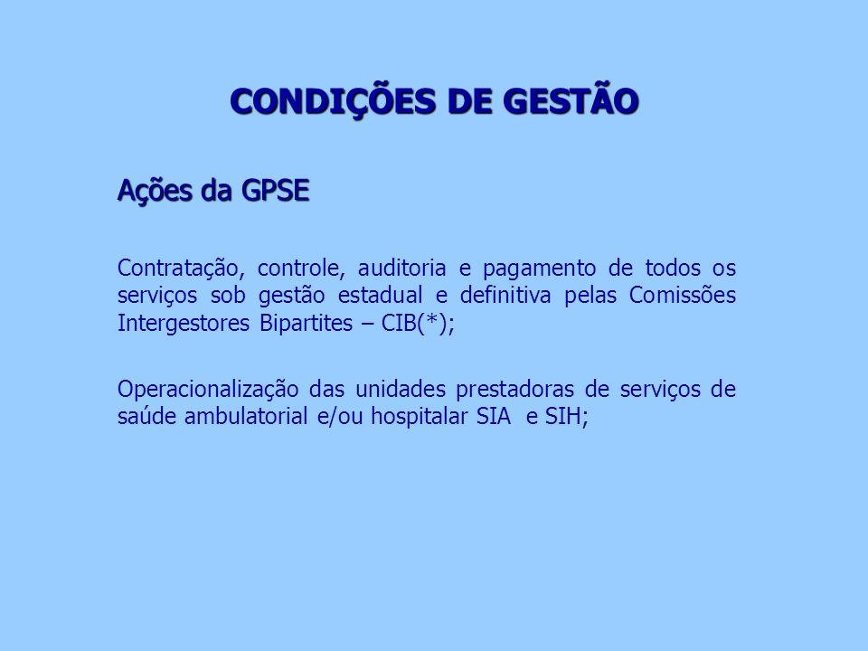CONDIÇÕES DE GESTÃO CONDIÇÕES DE GESTÃO Ações da GPSE Contratação, controle, auditoria e pagamento de todos os serviços sob gestão estadual e definiti