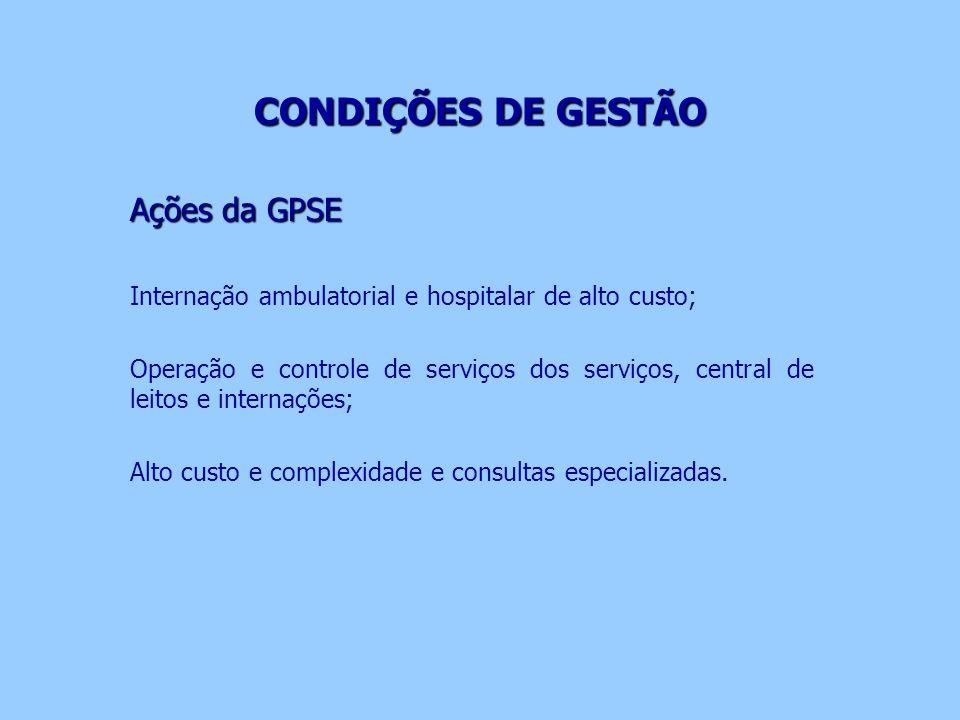 CONDIÇÕES DE GESTÃO CONDIÇÕES DE GESTÃO Ações da GPSE Internação ambulatorial e hospitalar de alto custo; Operação e controle de serviços dos serviços