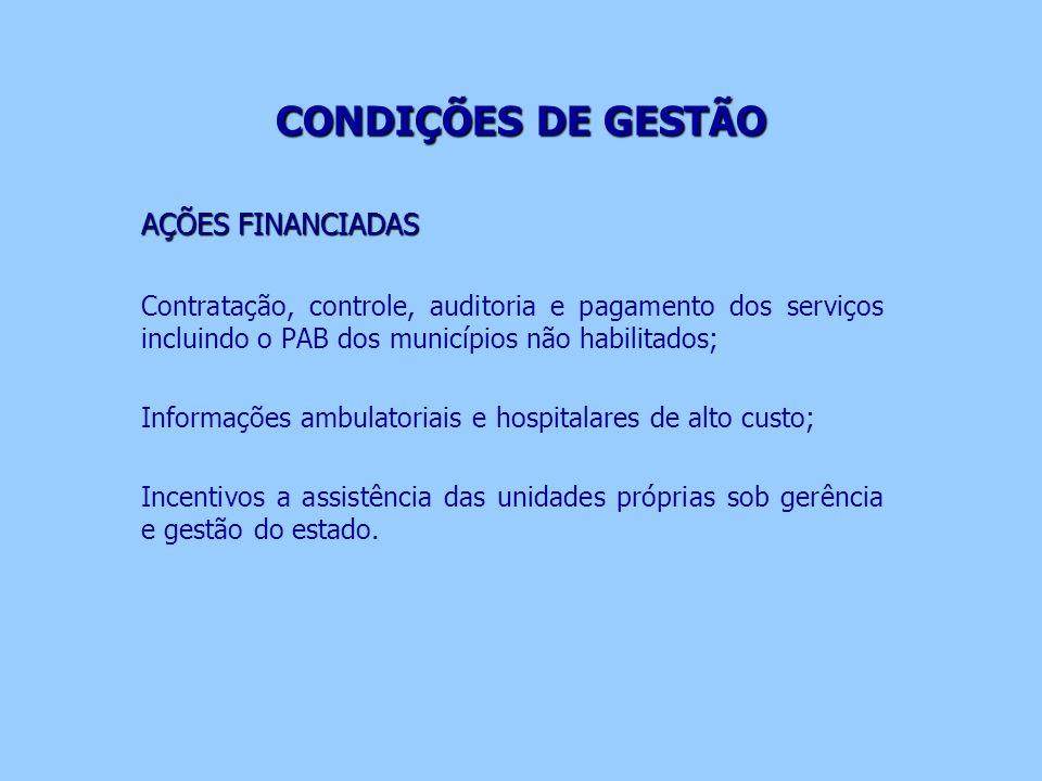 CONDIÇÕES DE GESTÃO CONDIÇÕES DE GESTÃO AÇÕES FINANCIADAS Contratação, controle, auditoria e pagamento dos serviços incluindo o PAB dos municípios não