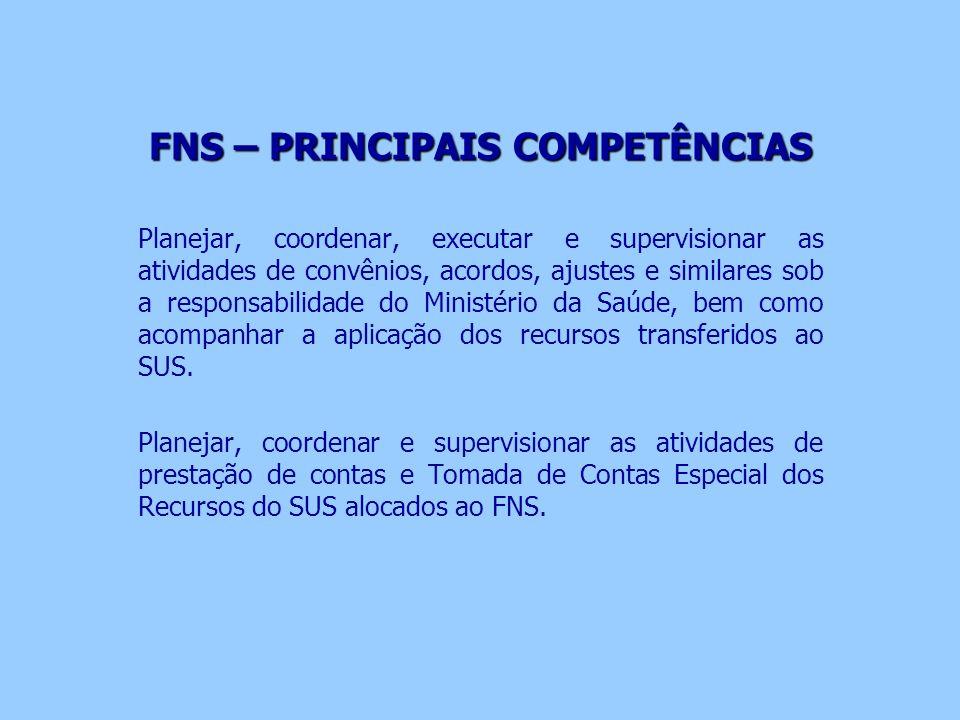FNS – PRINCIPAIS COMPETÊNCIAS Planejar, coordenar, executar e supervisionar as atividades de convênios, acordos, ajustes e similares sob a responsabil
