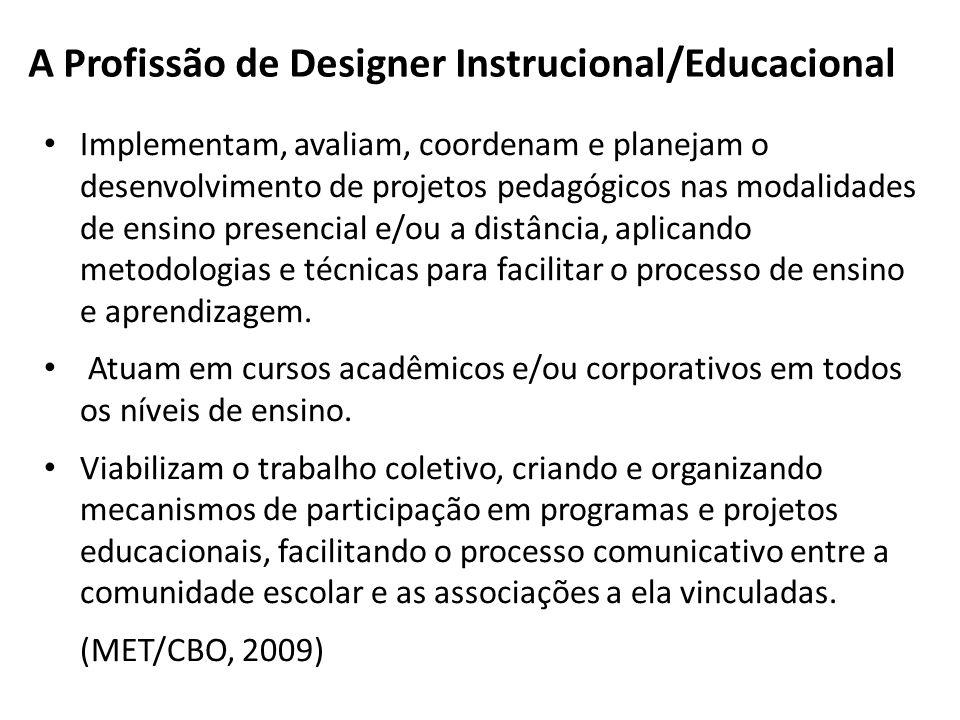 A Profissão de Designer Instrucional/Educacional Implementam, avaliam, coordenam e planejam o desenvolvimento de projetos pedagógicos nas modalidades de ensino presencial e/ou a distância, aplicando metodologias e técnicas para facilitar o processo de ensino e aprendizagem.