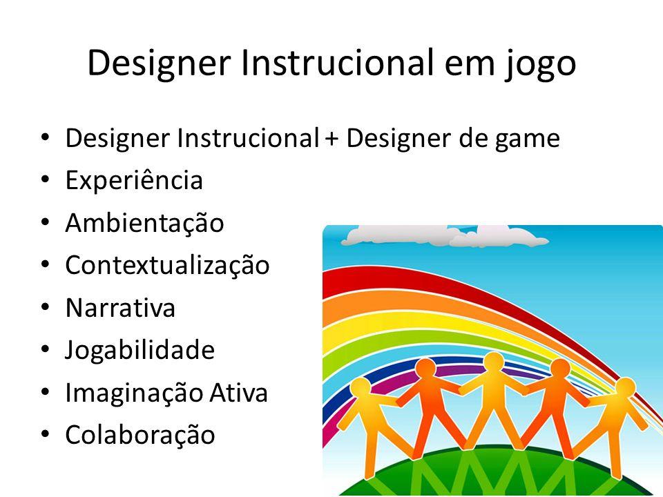 Designer Instrucional em jogo Designer Instrucional + Designer de game Experiência Ambientação Contextualização Narrativa Jogabilidade Imaginação Ativa Colaboração