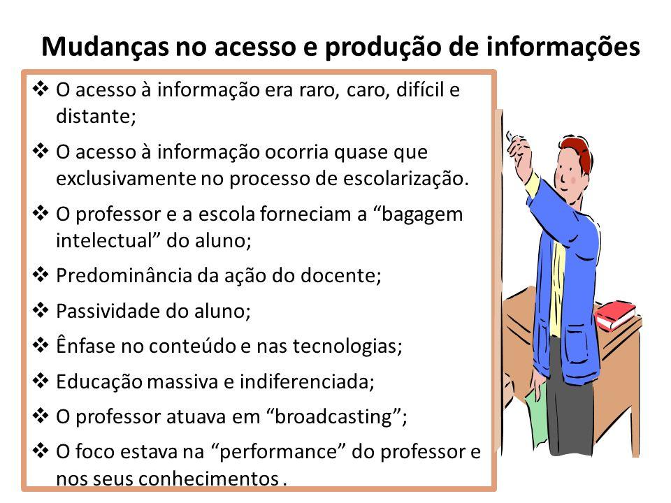 Mudanças no acesso e produção de informações O acesso à informação era raro, caro, difícil e distante; O acesso à informação ocorria quase que exclusivamente no processo de escolarização.