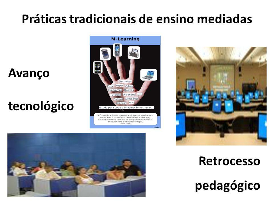 Práticas tradicionais de ensino mediadas Avanço tecnológico Retrocesso pedagógico