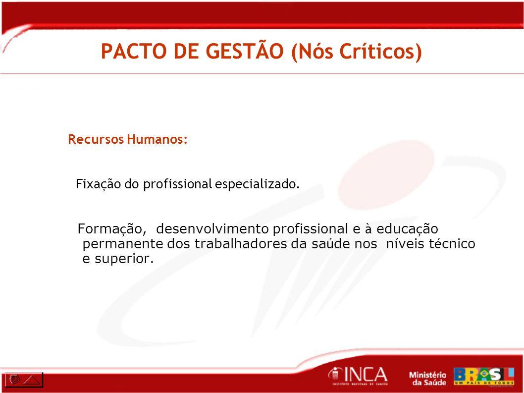 PACTO DE GESTÃO (Nós Críticos) Recursos Humanos: Fixação do profissional especializado. Forma ç ão, desenvolvimento profissional e à educa ç ão perman