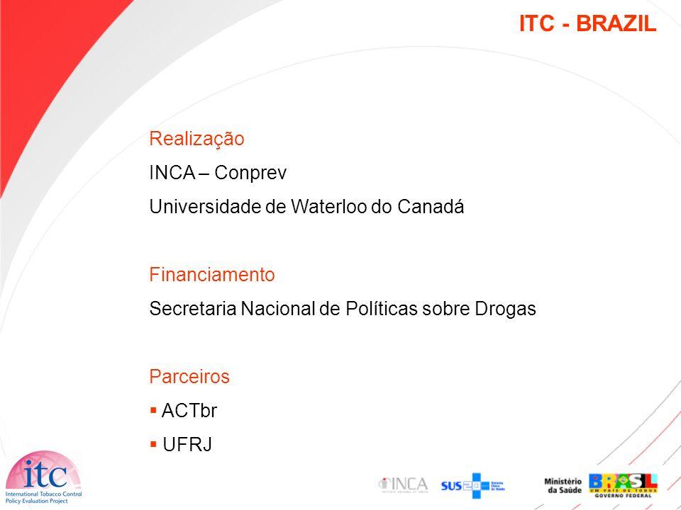 Realização INCA – Conprev Universidade de Waterloo do Canadá Financiamento Secretaria Nacional de Políticas sobre Drogas Parceiros ACTbr UFRJ ITC - BR