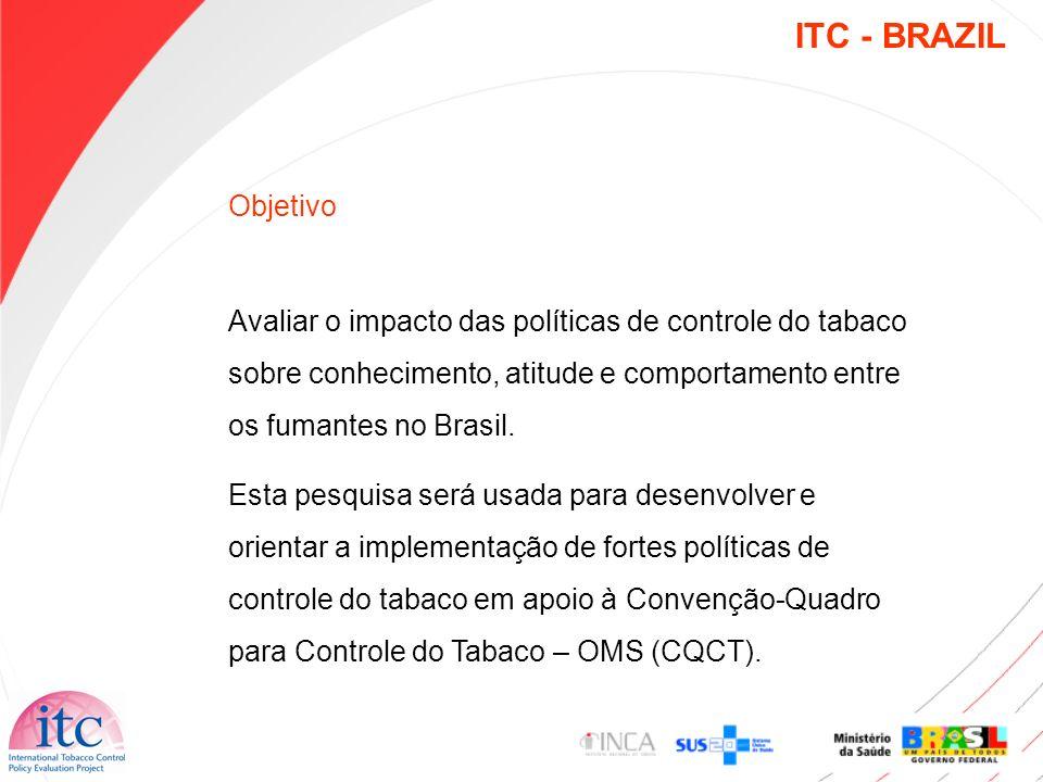 Objetivo Avaliar o impacto das políticas de controle do tabaco sobre conhecimento, atitude e comportamento entre os fumantes no Brasil. Esta pesquisa