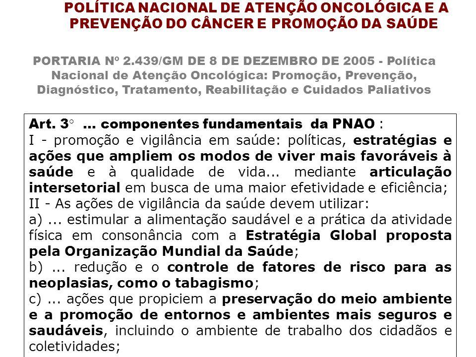 Art. 3°... componentes fundamentais da PNAO : I - promoção e vigilância em saúde: políticas, estratégias e ações que ampliem os modos de viver mais fa