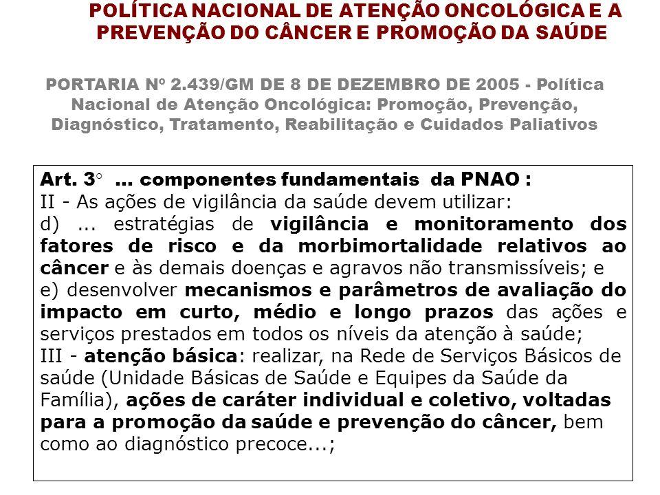 Art. 3°... componentes fundamentais da PNAO : II - As ações de vigilância da saúde devem utilizar: d)... estratégias de vigilância e monitoramento dos
