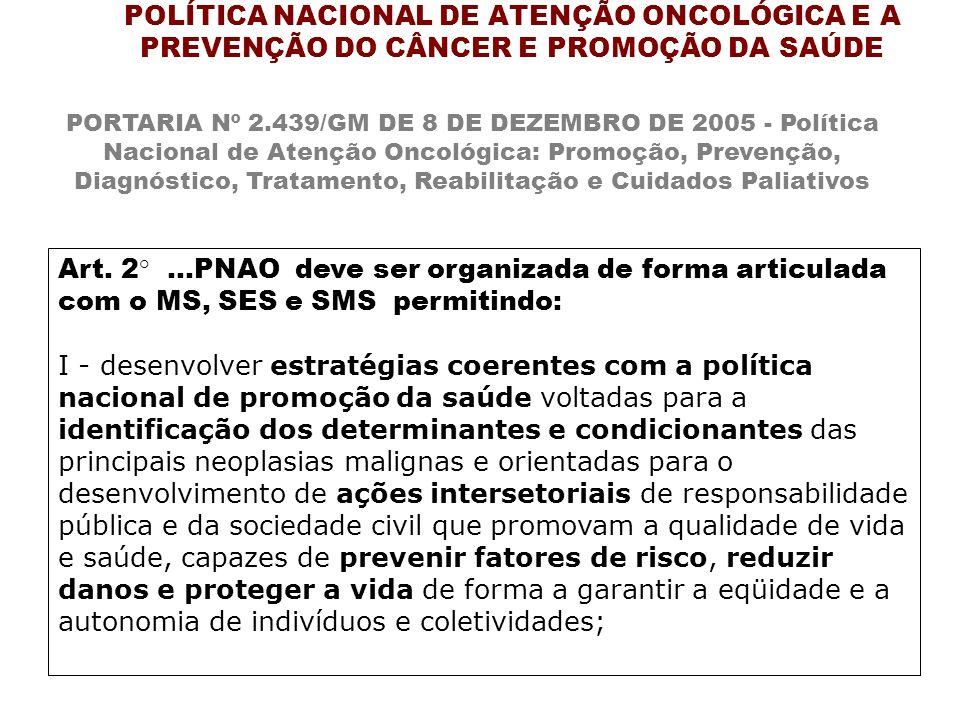 POLÍTICA NACIONAL DE ATENÇÃO ONCOLÓGICA E A PREVENÇÃO DO CÂNCER E PROMOÇÃO DA SAÚDE PORTARIA Nº 2.439/GM DE 8 DE DEZEMBRO DE 2005 - Política Nacional