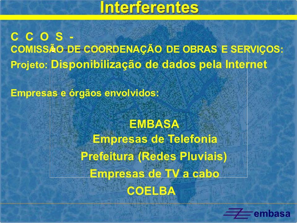 embasa EMBASA Prefeitura (Redes Pluviais) Empresas de TV a cabo COELBA Interferentes C C O S - COMISSÃO DE COORDENAÇÃO DE OBRAS E SERVIÇOS: Projeto: D