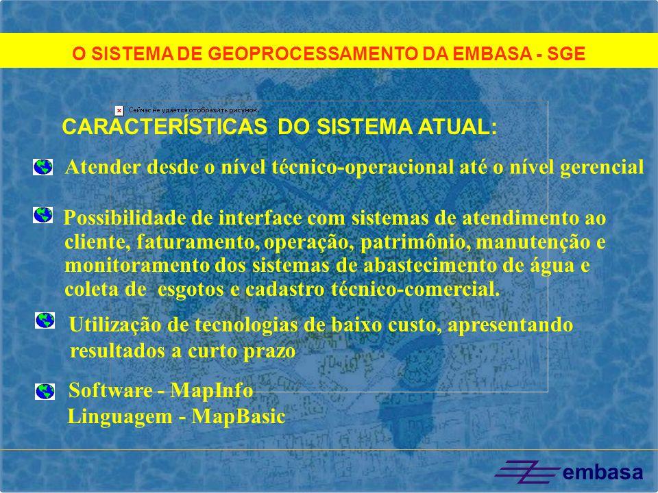 O SISTEMA DE GEOPROCESSAMENTO DA EMBASA - SGE Possibilidade de interface com sistemas de atendimento ao cliente, faturamento, operação, patrimônio, ma