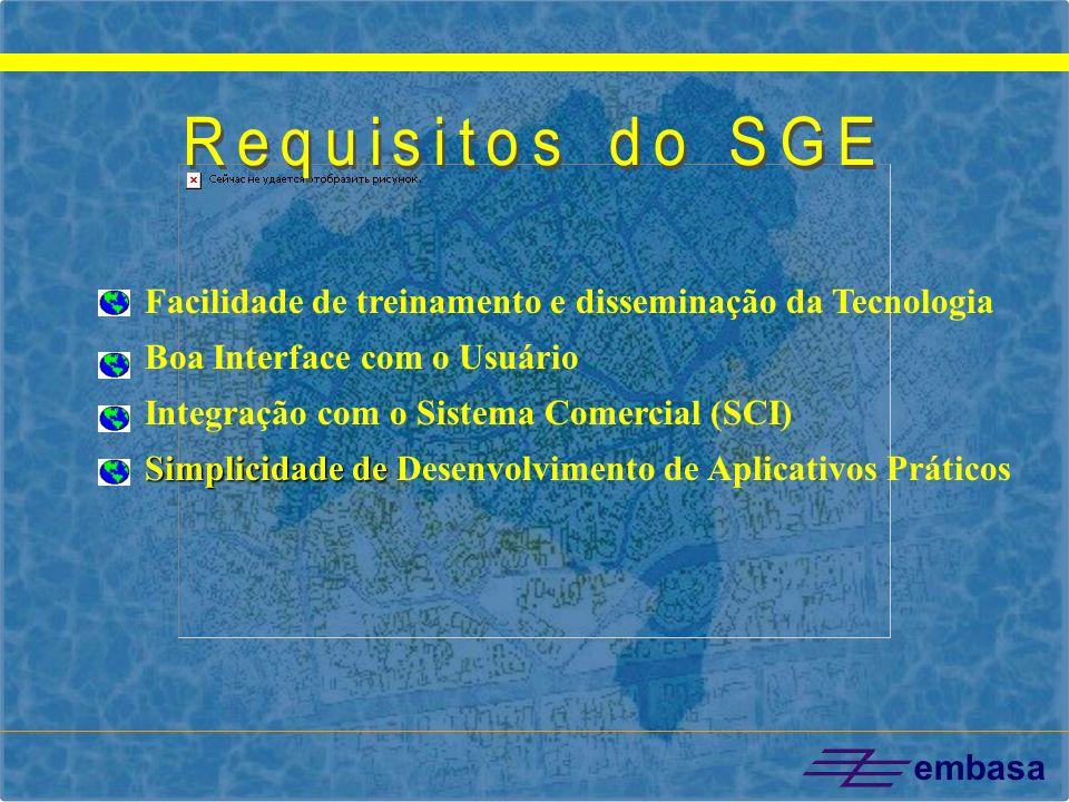 embasa Facilidade de treinamento e disseminação da Tecnologia Boa Interface com o Usuário Integração com o Sistema Comercial (SCI) Simplicidade de Sim