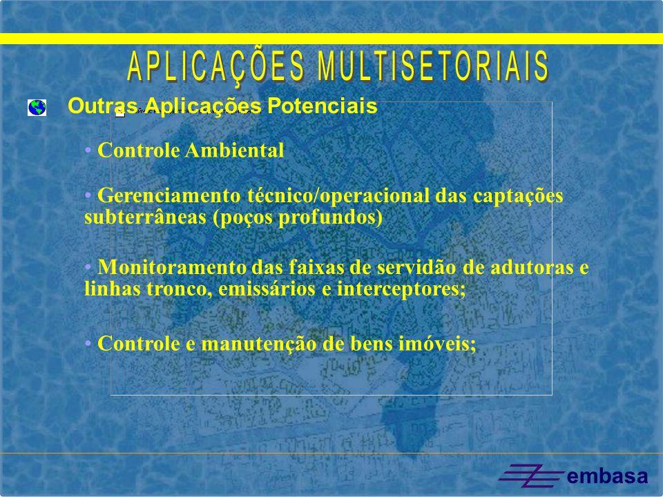 embasa Gerenciamento técnico/operacional das captações subterrâneas (poços profundos) Controle Ambiental Monitoramento das faixas de servidão de aduto