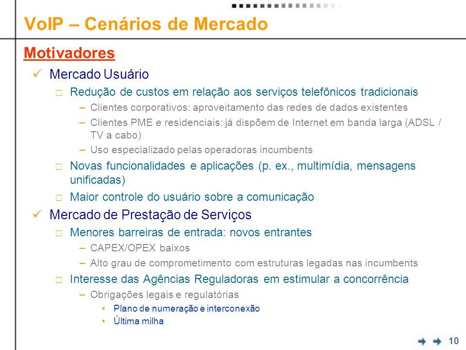 10 VoIP – Cenários de Mercado Mercado Usuário Redução de custos em relação aos serviços telefônicos tradicionais –Clientes corporativos: aproveitament