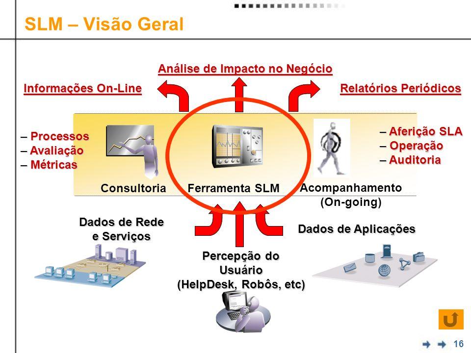 16 SLM – Visão Geral Dados de Aplicações Análise de Impacto no Negócio Dados de Rede e Serviços Ferramenta SLM Relatórios Periódicos Informações On-Li