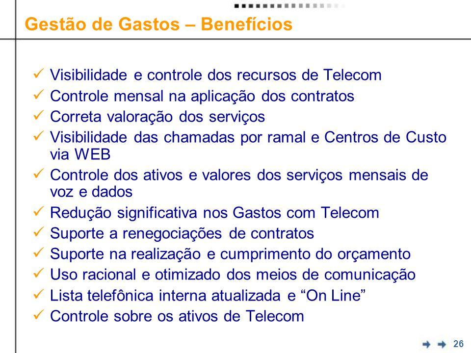 26 Visibilidade e controle dos recursos de Telecom Controle mensal na aplicação dos contratos Correta valoração dos serviços Visibilidade das chamadas