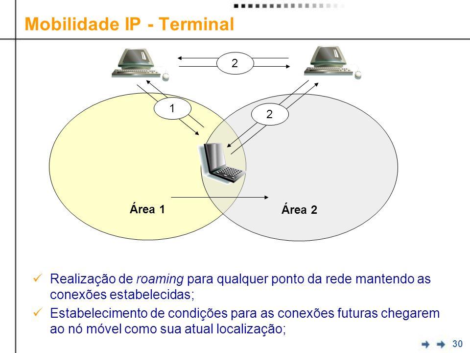 30 Realização de roaming para qualquer ponto da rede mantendo as conexões estabelecidas; Estabelecimento de condições para as conexões futuras chegarem ao nó móvel como sua atual localização; Mobilidade IP - Terminal Área 1 Área 2 1 2 2
