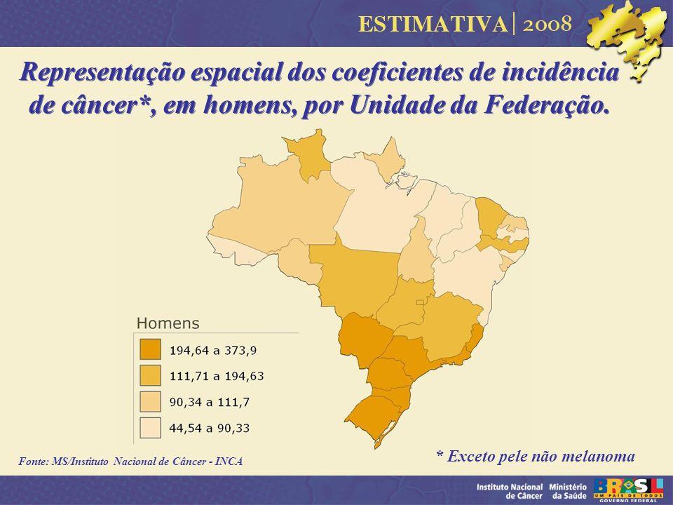 Fonte: MS/Instituto Nacional de Câncer - INCA Representação espacial dos coeficientes de incidência de câncer*, em homens, por Unidade da Federação. *