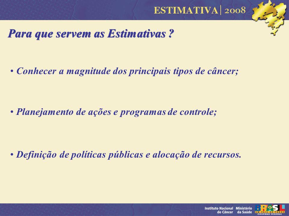 Para que servem as Estimativas ? Conhecer a magnitude dos principais tipos de câncer; Planejamento de ações e programas de controle; Definição de polí