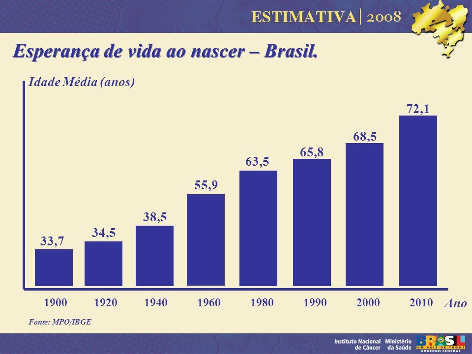 Esperança de vida ao nascer – Brasil. 1900 1920 1940 1960 1980 1990 2000 2010 34,5 38,5 55,9 63,5 Fonte: MPO/IBGE Ano 33,7 65,8 68,5 72,1 Idade Média