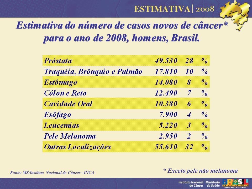 Estimativa do número de casos novos de câncer* para o ano de 2008, homens, Brasil. * Exceto pele não melanoma Fonte: MS/Instituto Nacional de Câncer -