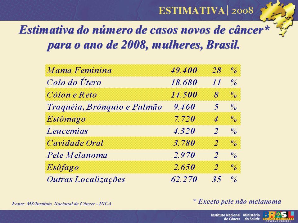 Estimativa do número de casos novos de câncer* para o ano de 2008, mulheres, Brasil. * Exceto pele não melanoma Fonte: MS/Instituto Nacional de Câncer