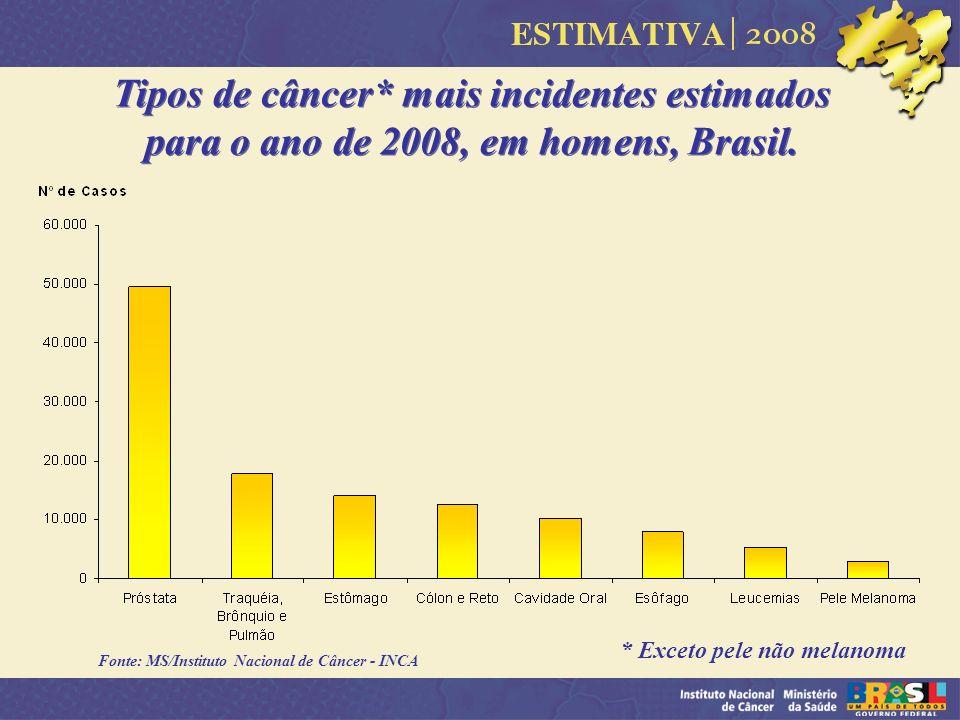 Tipos de câncer* mais incidentes estimados para o ano de 2008, em homens, Brasil. * Exceto pele não melanoma