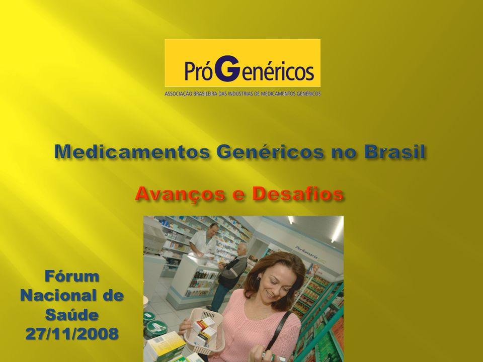 Entidade sem fins lucrativos; 8 empresas associadas, responsáveis por mais de 90% do mercado brasileiro de genéricos; Missão: contribuir para a melhoria das condições de saúde pública no Brasil, ampliando o acesso a medicamentos pela consolidação do mercado de genéricos.