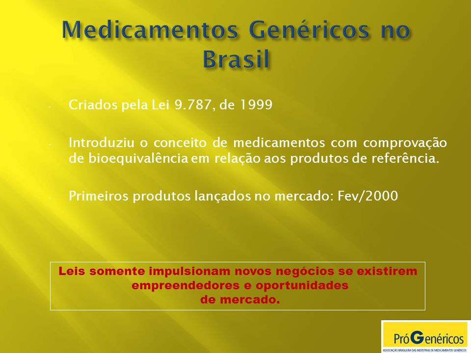 Criados pela Lei 9.787, de 1999 Introduziu o conceito de medicamentos com comprovação de bioequivalência em relação aos produtos de referência. Primei