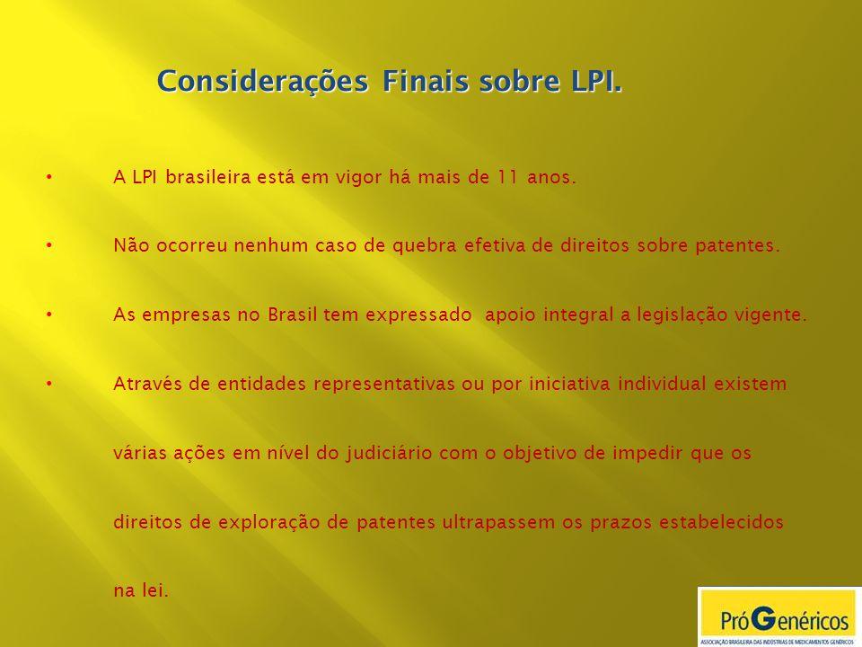 A LPI brasileira está em vigor há mais de 11 anos. Não ocorreu nenhum caso de quebra efetiva de direitos sobre patentes. As empresas no Brasil tem exp