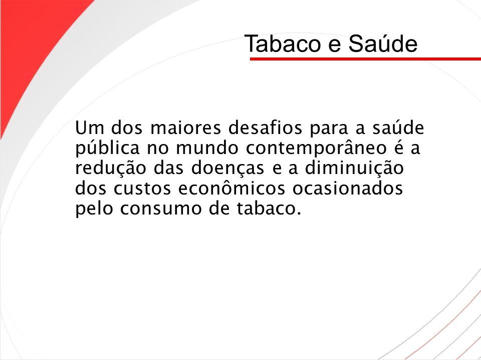 Tabaco e Saúde Um dos maiores desafios para a saúde pública no mundo contemporâneo é a redução das doenças e a diminuição dos custos econômicos ocasio