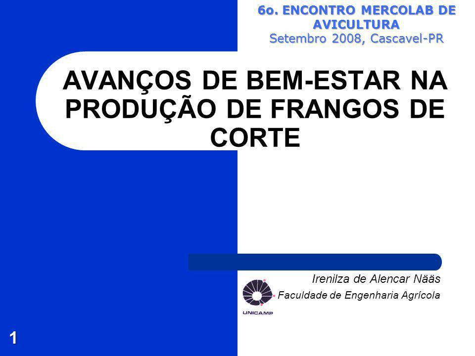 Legislação e normas A normas relacionadas com bem- estar em frangos de corte no Brasil estão abaixo daquelas de outros países produtores (Silva, 2008) 22