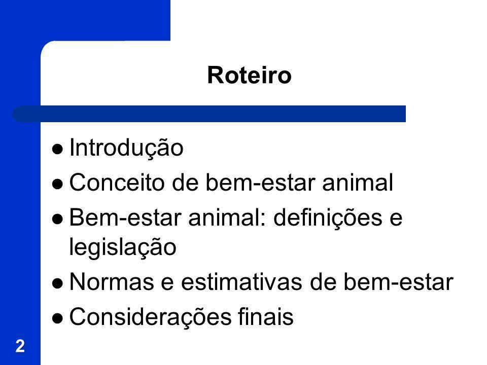 Roteiro Introdução Conceito de bem-estar animal Bem-estar animal: definições e legislação Normas e estimativas de bem-estar Considerações finais 2