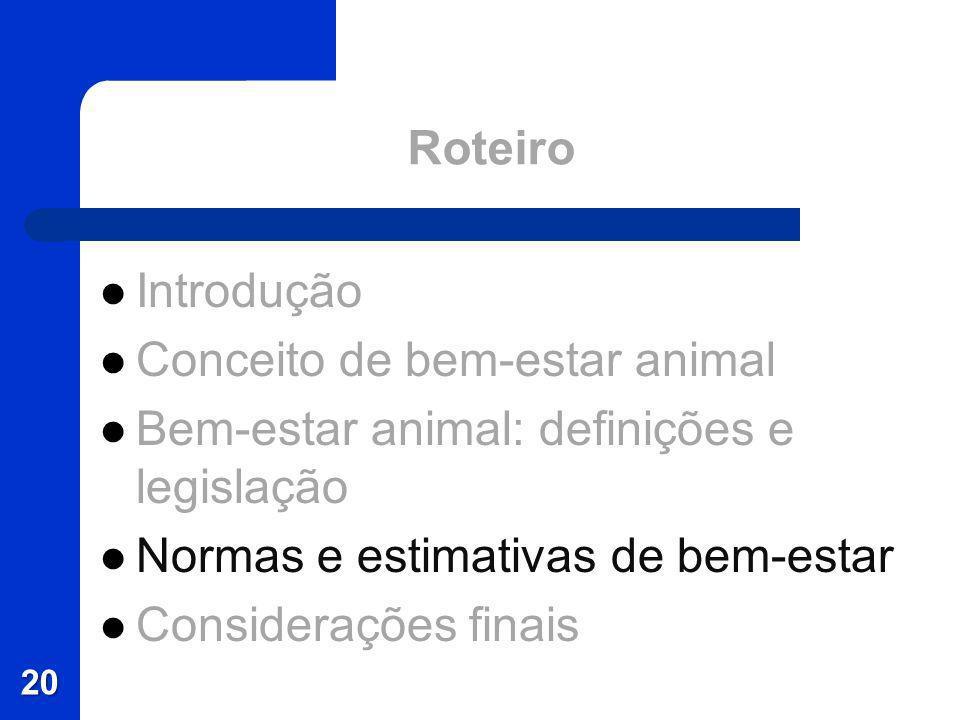 Roteiro Introdução Conceito de bem-estar animal Bem-estar animal: definições e legislação Normas e estimativas de bem-estar Considerações finais 20