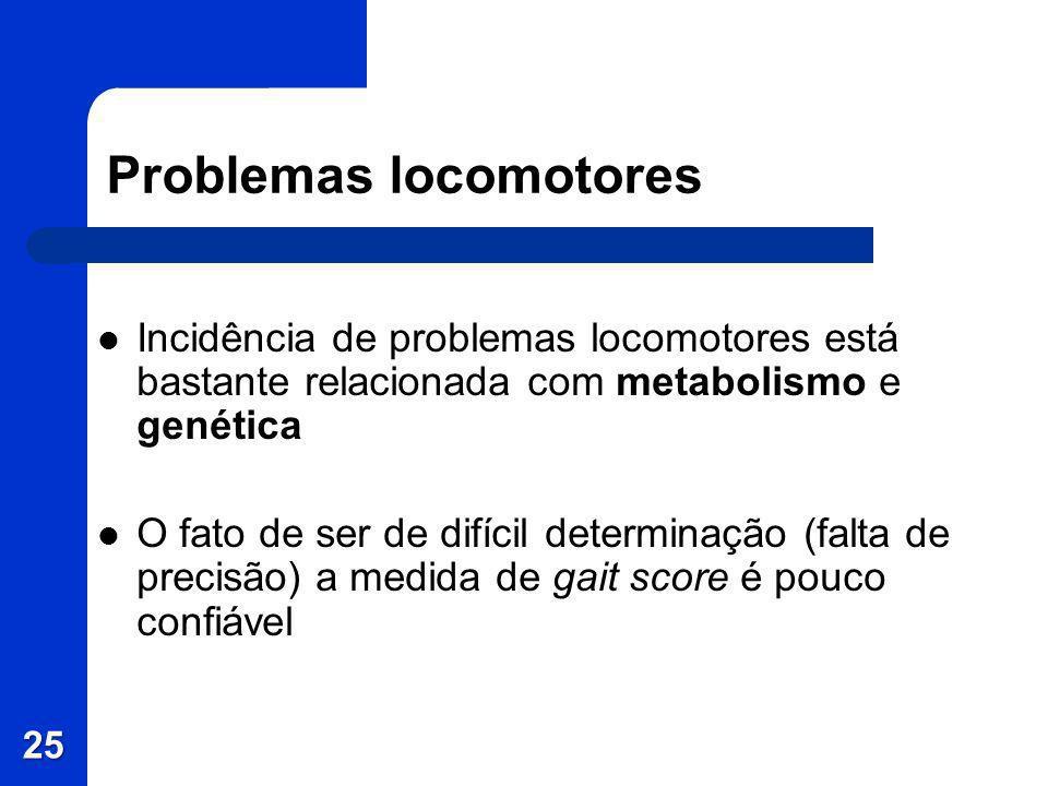 Problemas locomotores Incidência de problemas locomotores está bastante relacionada com metabolismo e genética O fato de ser de difícil determinação (