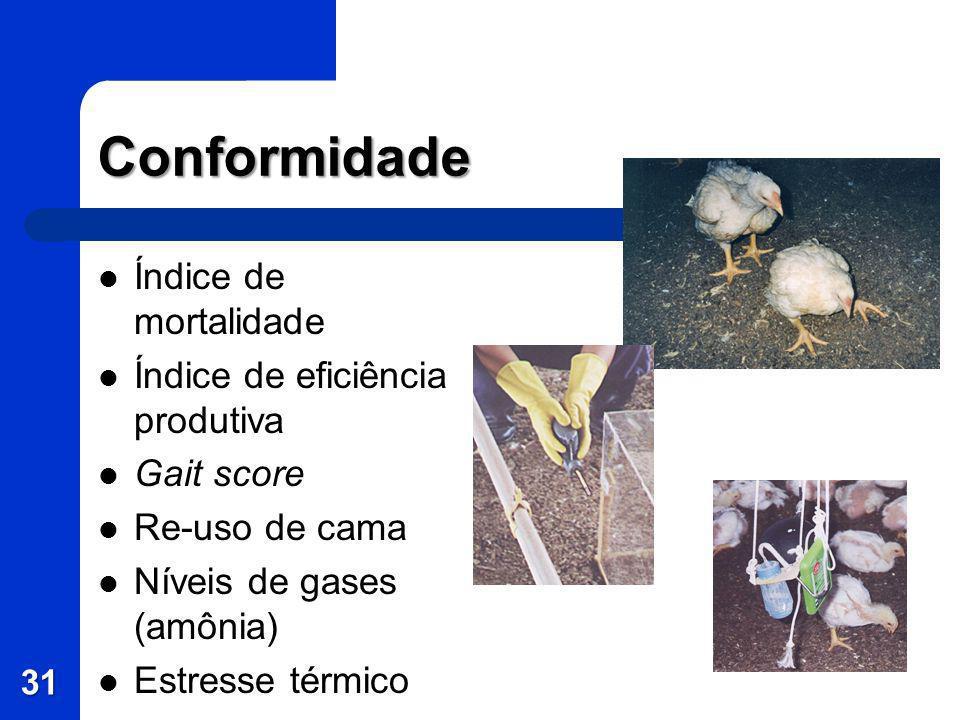 Conformidade Índice de mortalidade Índice de eficiência produtiva Gait score Re-uso de cama Níveis de gases (amônia) Estresse térmico 31
