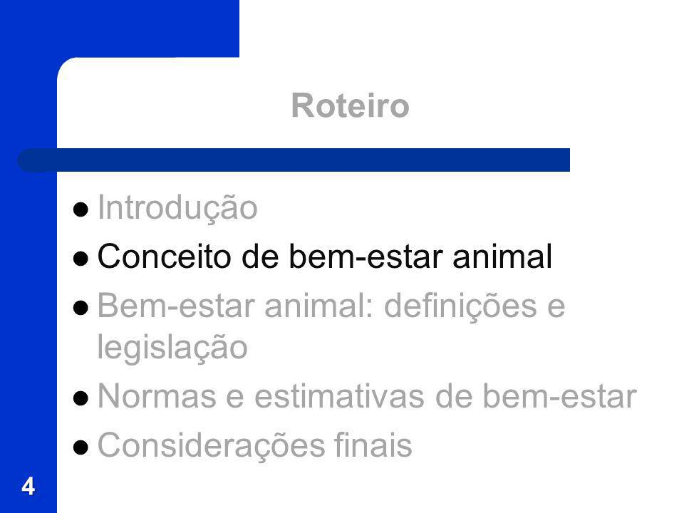 Roteiro Introdução Conceito de bem-estar animal Bem-estar animal: definições e legislação Normas e estimativas de bem-estar Considerações finais 4