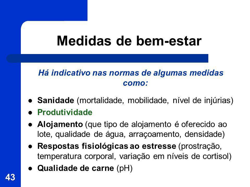 Medidas de bem-estar Há indicativo nas normas de algumas medidas como: Sanidade (mortalidade, mobilidade, nível de injúrias) Produtividade Alojamento