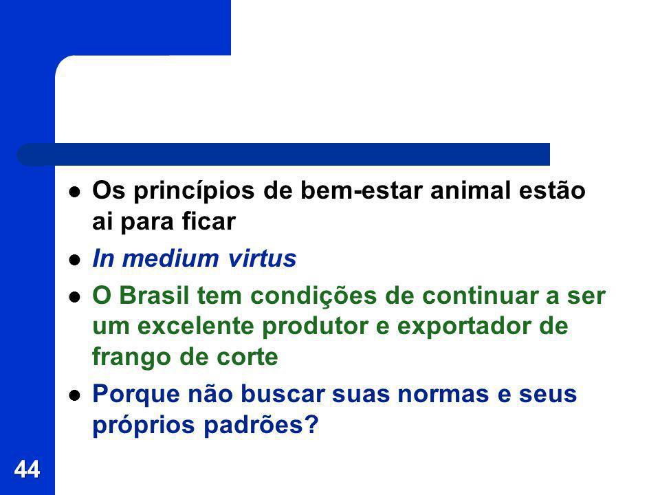 Os princípios de bem-estar animal estão ai para ficar In medium virtus O Brasil tem condições de continuar a ser um excelente produtor e exportador de