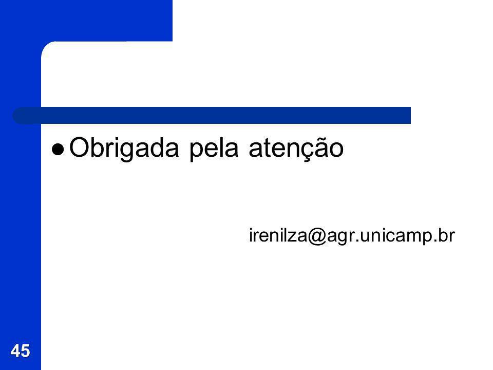 Obrigada pela atenção irenilza@agr.unicamp.br 45