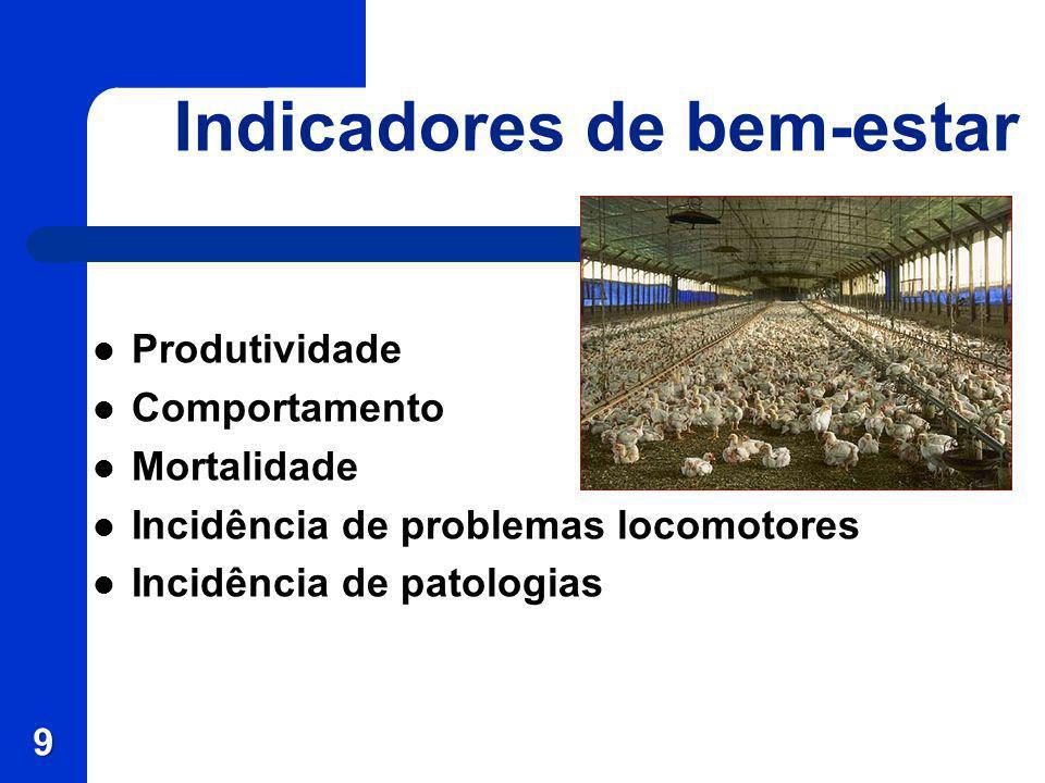 Indicadores de bem-estar Produtividade Comportamento Mortalidade Incidência de problemas locomotores Incidência de patologias 9