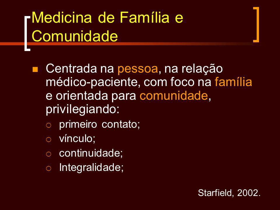 Medicina de Família e Comunidade Centrada na pessoa, na relação médico-paciente, com foco na família e orientada para comunidade, privilegiando: prime