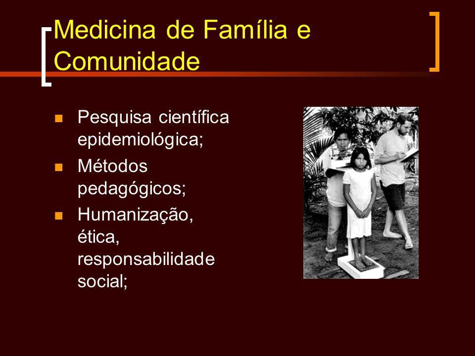 Medicina de Família e Comunidade Pesquisa científica epidemiológica; Métodos pedagógicos; Humanização, ética, responsabilidade social;