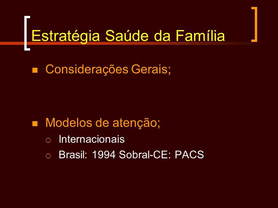 Estratégia Saúde da Família Considerações Gerais; Modelos de atenção; Internacionais Brasil: 1994 Sobral-CE: PACS