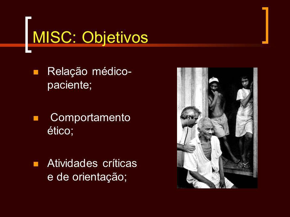 MISC: Objetivos Relação médico- paciente; Comportamento ético; Atividades críticas e de orientação;