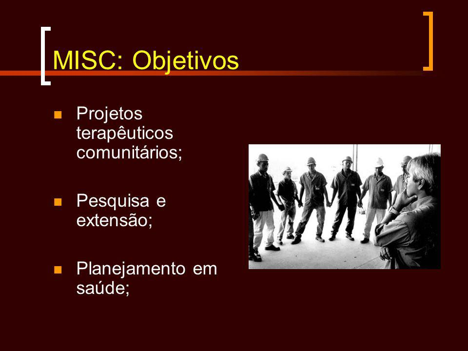 MISC: Objetivos Projetos terapêuticos comunitários; Pesquisa e extensão; Planejamento em saúde;