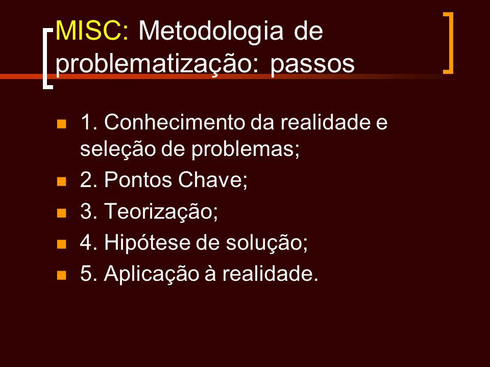 MISC: Metodologia de problematização: passos 1. Conhecimento da realidade e seleção de problemas; 2. Pontos Chave; 3. Teorização; 4. Hipótese de soluç