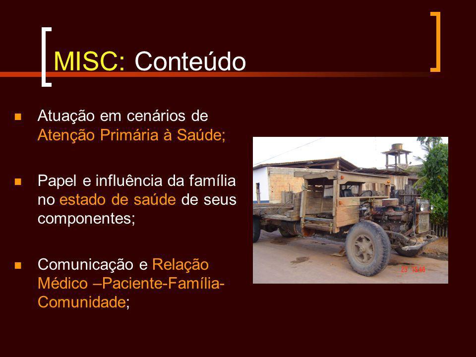 MISC: Conteúdo Atuação em cenários de Atenção Primária à Saúde; Papel e influência da família no estado de saúde de seus componentes; Comunicação e Re