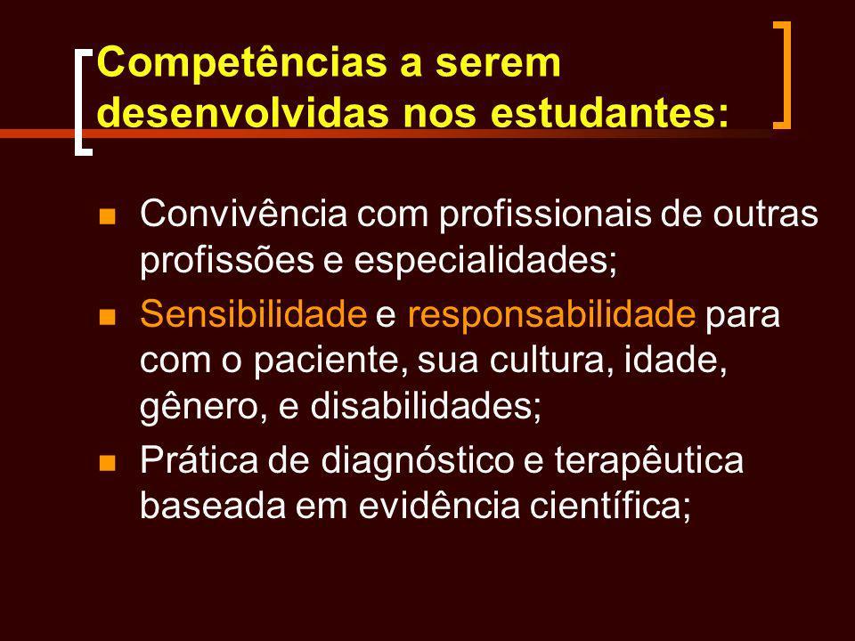 Competências a serem desenvolvidas nos estudantes: Convivência com profissionais de outras profissões e especialidades; Sensibilidade e responsabilida